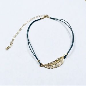 Lane Bryant Golden Feather Hippie choker necklace